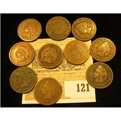 Pack of 10 different 1800's date Indian Head Cents.