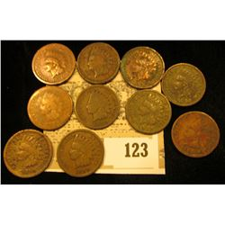 Pack of 10 different 1880 thru 1891 date Indian Head Cents.