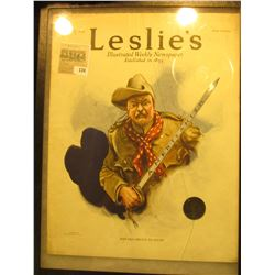 """12"""" x 16"""" glass (cracked) faced case containing a July 27th, 1916 Issue of """"Leslie's Illustrated New"""