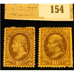 Pair of 1870 USA 10c brown Jefferson Stamp Cancelled & Mint.with no gum and hinge.