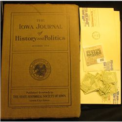 """Bulk lot including: October 1914 """"The Iowa Journal of History and Politics""""; pair of """"Small Business"""