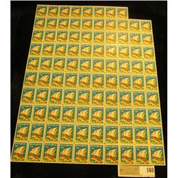 """Partial Mint Sheet 1928 """"Merry Christmas"""" Stamps/Seals. Missing one stamp. (98 stamps)."""