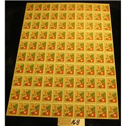 """Mint Sheet of 1930 """"Merry Christmas"""" Stamps/Seals. National Tuberculosis Association. (100 stamps)"""