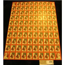 """Mint Sheet of 1938 """"Merry Christmas"""" Stamps/Seals. National Tuberculosis Association. (100 stamps)"""