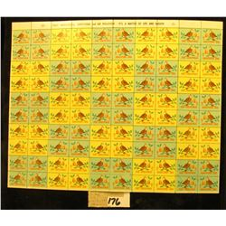 """Mint Sheet of 1968 """"Merry Christmas"""" Stamps/Seals. National Tuberculosis Association. (100 stamps)"""