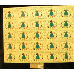 """Mint Sheet of 1969 """"Merry Christmas"""" Stamps/Seals. National Tuberculosis Association. (100 stamps)"""