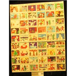 """Mint Sheet (split in two) of 1975 """"Merry Christmas"""" Stamps/Seals. American Lung Association. (54 sta"""
