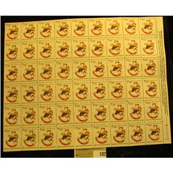 """Mint Sheet of 1981 """"Merry Christmas"""" Stamps/Seals. American Lung Association. (54 stamps)"""