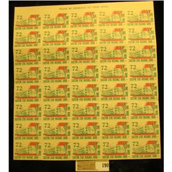 """Mint Sheet of 1972 """"Eastern Star Masonic Home Boone Iowa"""" Stamps. (50 stamps)."""