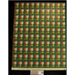 """Mint Sheet of 1952 """"Merry Christmas"""" Stamps/Seals. National Tuberculosis Association. (100 stamps)"""