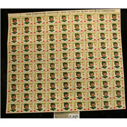 """Mint Sheet of 1953 """"Merry Christmas"""" Stamps/Seals. National Tuberculosis Association. (100 stamps)"""
