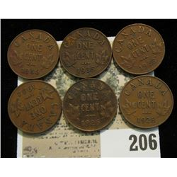 1929, 28, 32, 33, 35, & 36 lot of 6 King George V Canada Cents. Their condition averages VF.