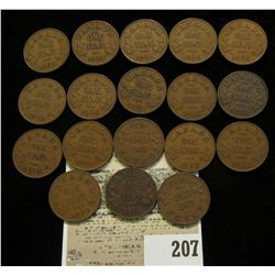 (18) King George V Canada Cents, some duplicate dates between 1928 and 1936.