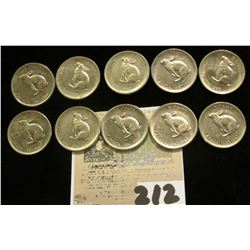 "(10) 1967 Canada ""Hare"" Confederation Centennial nickels, all better condition AU+."