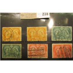 Canada 1897 Queen Victoria, six used stamps.
