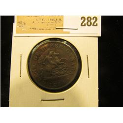 1854 Bank of Upper Canada One Half-Penny. (depicts St. George slaying the dragon).