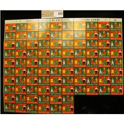 """Partial Mint Sheet of 1954 """"Greetings"""" Christmas Stamps/Seals. National Tuberculosis Association. (9"""