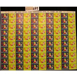 Mint Sheet of 1955 Christmas Stamps/Seals. National Tuberculosis Association. (100 stamps)