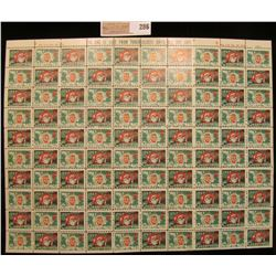 """Mint Sheet of 1957 """"Greetings"""" Christmas Stamps/Seals. National Tuberculosis Association. (100 stamp"""