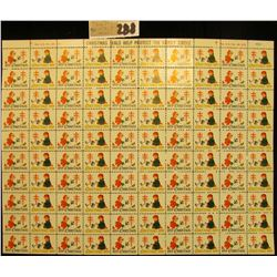 """Mint Sheet of 1959 """"Greetings"""" Christmas Stamps/Seals. National Tuberculosis Association. (100 stamp"""