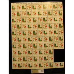 """Partial Mint Sheet of 1964 """"Greetings"""" Christmas Stamps/Seals. National Tuberculosis Association. (9"""