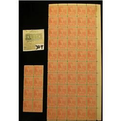 Partial Mint Sheet and a block of 8 William Henry Harrison 9c USA Stamps, Scott # 814. (total of 58