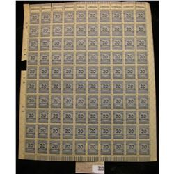 Mint Sheet 1923 German Empire 20 Million Stamp with Royal blue overprint. Seldom seen as a sheet. Is