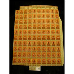Mint Sheet of 200 Mark carmine stamps with 2 Millionen Mark black overprint from 1923 era Germany. N