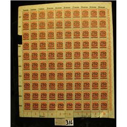 Mint Sheet of 500 Mark carmine stamps with 250 Thousand Mark black overprint from 1923 era Germany.