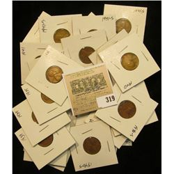 """Group of carded Lincoln Cents, all in 2"""" x 2"""" holders and ready for retailing. Includes (5) 1939P, ("""