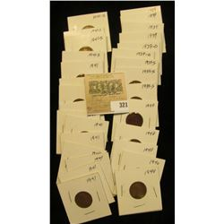 """Group of carded Lincoln Cents, all in 2"""" x 2"""" holders and ready for retailing. Includes (4) 1939P,(2"""