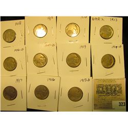 """Group of carded Buffalo Nickels with acid restored dates, all in 2"""" x 2"""" holders and ready for retai"""