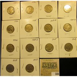 """Group of carded Buffalo Nickels no acid restored dates in this group, but a few partial, all in 2"""" x"""