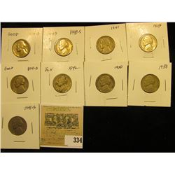 """Group of carded Jefferson Nickels, all in 2"""" x 2"""" holders and ready for retailing. Includes 1938P, 3"""