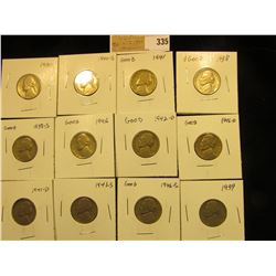 """Group of carded Jefferson Nickels, all in 2"""" x 2"""" holders and ready for retailing. Includes 1938P, S"""
