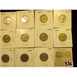 """Group of carded Jefferson Nickels, all in 2"""" x 2"""" holders and ready for retailing. Includes 1939P, 4"""