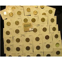 """Group of carded Jefferson Nickels, all in 2"""" x 2"""" holders and ready for retailing. Includes 1939P, ("""