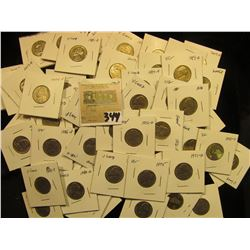 """Group of carded Jefferson Nickels, all in 2"""" x 2"""" holders and ready for retailing. Includes 1964D, 7"""