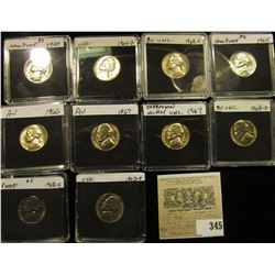 (10) Jefferson Nickels in hard plastic cases dating 1963-68S and includes both BU and Proof specimen