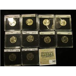 (10) Jefferson Nickels in hard plastic cases dating 1972 D-75 D and includes both BU and Proof speci