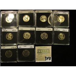 (10) Jefferson Nickels in hard plastic cases dating 1975S-78S and includes both BU and Proof specime
