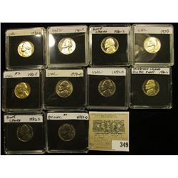(10) Jefferson Nickels in hard plastic cases dating 1979-83 and includes both BU and Proof specimens