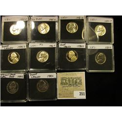 (10) Jefferson Nickels in hard plastic cases dating 1983S-86D and includes both BU and Proof specime