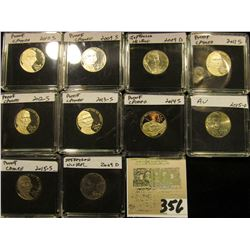 (10) Jefferson Nickels in hard plastic cases dating 2009-2015 and includes both BU and Proof specime