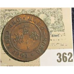 1901 Hong Kong Large Cent, choice red-brown AU.