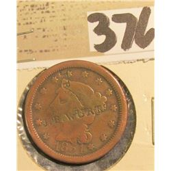 "1854 U.S. Large Cent with rare counterstamp ""J.B. Wurts""."