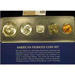 1964 American Patriots Coin Set Cent to Silver Half-Dollar in a Snaptight case, all BU, and from the
