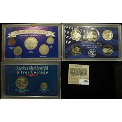 """2005 S State Quarters Proof Set, 5 coins (no box); """"America's Most Beautiful Silver Coinage"""" Cased s"""
