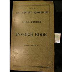 """College Currency Collectors """"For Use In 20th Century Bookkeeping and Office Practice Invoice Book Pa"""