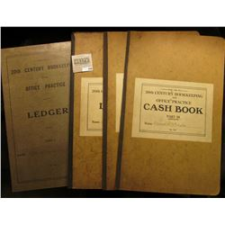"""Pair of Ledgers, Journal, and Cash Book """"For Use In 20th Century Bookkeeping and Office Practice"""". P"""